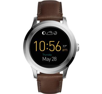Fossil smartwatch Q Founder 46 mm Zilver/Bruin Leer