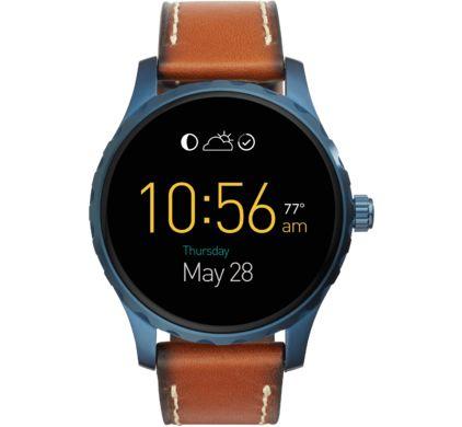 Fossil smartwatch Q Marshal 45mm Blauw/Cognac Leer