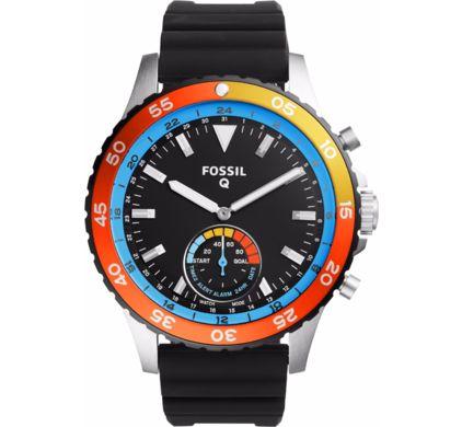 Fossil smartwatch Q Crewmaster Hybrid Zilver/Zwart